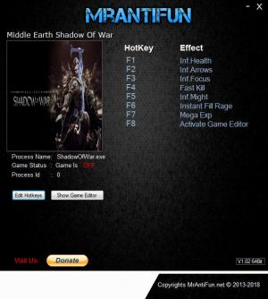 Middle-earth: Shadow of War Trainer for PC game version v1.20