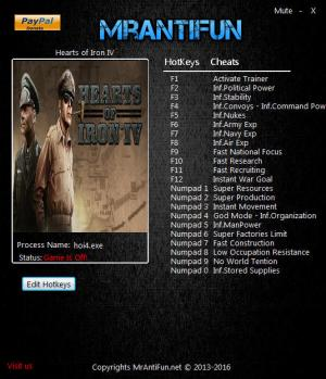 Hearts of Iron 4  Trainer +23 v1.5.4 {MrAntiFun}