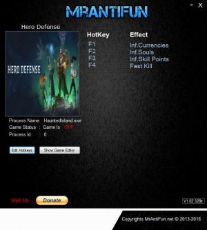 Hero Defense: Haunted Island Trainer for PC game version v1.4.4.4139