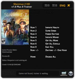 Shenmue 1 and 2 Trainer for PC game version v1.0