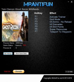 Tom Clancy's Ghost Recon Wildlands Trainer for PC game version v3088436