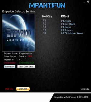 Empyrion: Galactic Survival Trainer for PC game version v8.5.0.1849