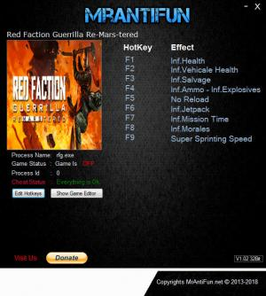 Red Faction Guerrilla Re-Mars-tered Trainer for PC game version v4851