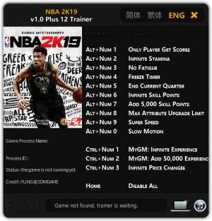 NBA 2K19 Trainer +12 v1.0 {FLiNG}
