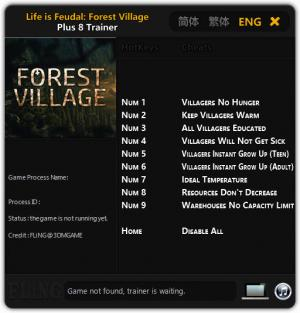 Life is Feudal: Forest Village Trainer for PC game version Updated 2018.09.09