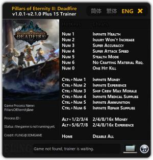 Pillars of Eternity 2: Deadfire Trainer for PC game version v2.1.0
