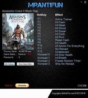 Assassin's Creed 4: Black Flag Trainer for PC game version v1.07.2