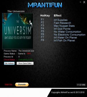 The Universim Trainer for PC game version v0.0.26.19695