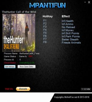 theHunter: Call of the Wild Trainer for PC game version v1.23