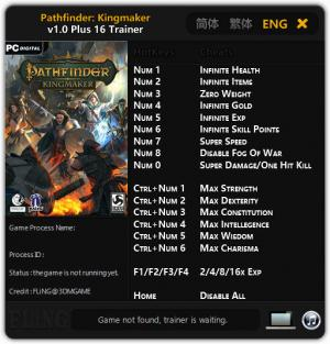 Pathfinder: Kingmaker Trainer +16 v1.0 {FLiNG}