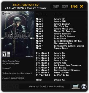 Final Fantasy XV Trainer for PC game version v1.0 Update 25.09.2018