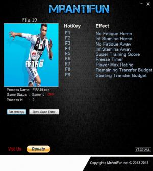 FIFA 19 Trainer for PC game version v28.09.2018
