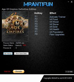 Age of Empires: Definitive Edition Trainer for PC game version Build 5314