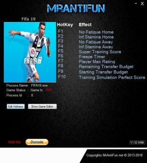 FIFA 19 Trainer for PC game version v02.10.2018