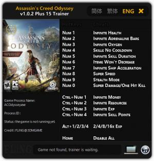 Assassin's Creed: Odyssey Trainer for PC game version v1.0.2