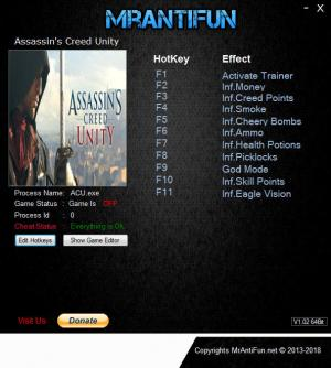 Assassin's Creed: Unity Trainer for PC game version v1.5