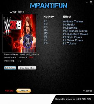 WWE 2K19 Trainer for PC game version v07.10.2018
