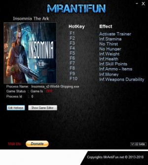 Insomnia: The Ark Trainer for PC game version v09.10.2018