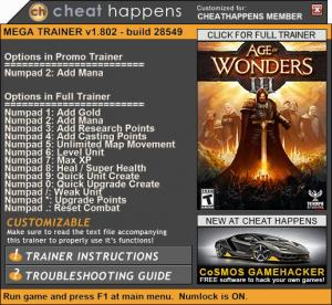 Age of Wonders 3 Trainer +13 v1.802 28549 (Cheat Happens)