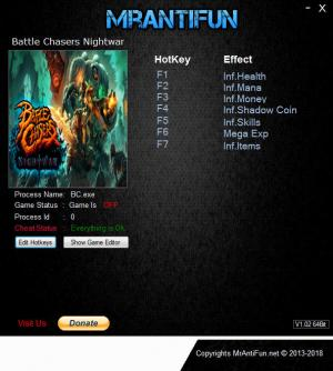 Battle Chasers: Nightwar Trainer for PC game version v24034