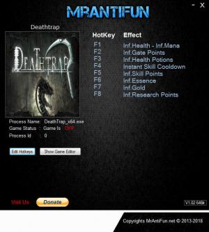 Deathtrap Trainer for PC game version v1.0.6C 64Bit
