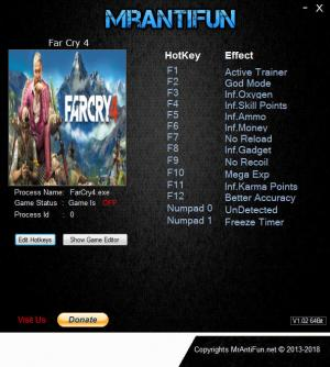 Far Cry 4 Trainer for PC game version v1.10