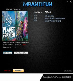 Planet Coaster Trainer for PC game version v1.8.2