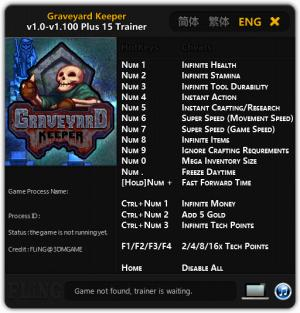 Graveyard Keeper Trainer for PC game version v1.100