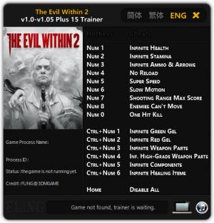 The Evil Within 2 Trainer for PC game version v1.05