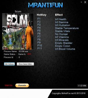 SCUM Trainer for PC game version v0.1.18.9602