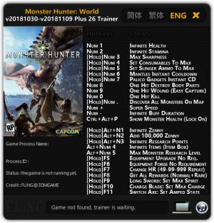 Monster Hunter: World Trainer +26 v2018.11.09 Steam {FLiNG}
