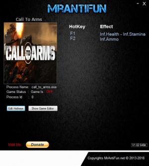 Call To Arms Trainer for PC game version v1.011.0 64bit