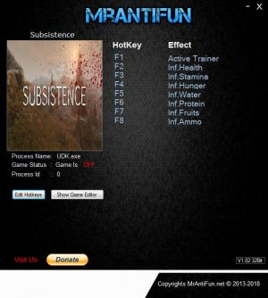 Subsistence Trainer for PC game version  v19.11.2018