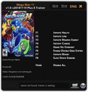 Mega Man 11 Trainer for PC game version v2018.11.19