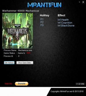Warhammer 40.000: Mechanicus Trainer for PC game version v1.0.4