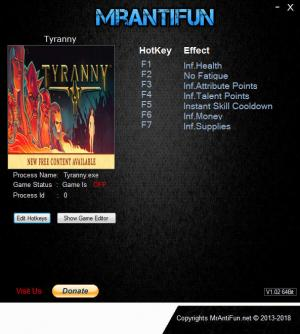 Tyranny Trainer for PC game version v1.2.1.0160