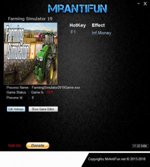Farming Simulator 19 Trainer for PC game version v1.00