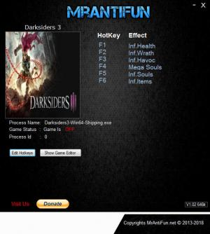 Darksiders 3 Trainer +6 v1.00 {MrAntiFun}