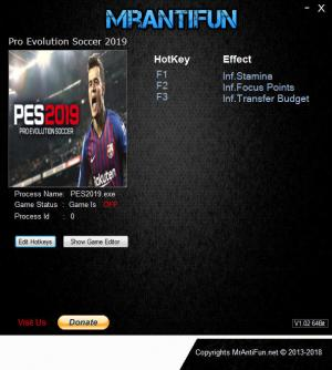 Pro Evolution Soccer 2019 Trainer +3 v1.02.00 {MrAntiFun}