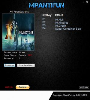 X4: Foundations Trainer +4 v1.2 {MrAntiFun}