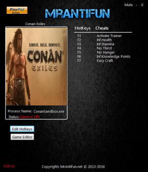 Conan Exiles Trainer for PC game version v10.12.2018