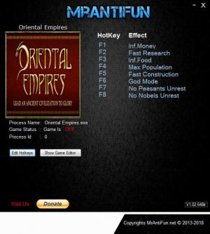 Oriental Empires Trainer for PC game version v23.11.2018
