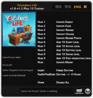 Youtubers Life Trainer for PC game version v1.3