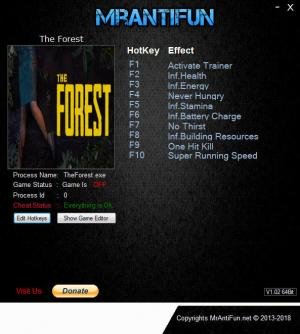 The Forest Trainer for PC game version Build 3384931