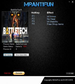 Battletech 2018 Trainer for PC game version v1.3.2