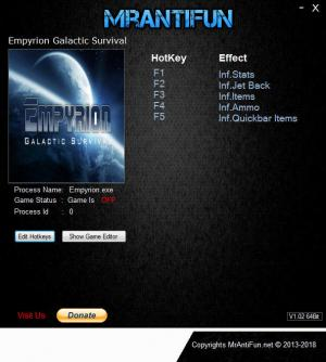 Empyrion: Galactic Survival Trainer for PC game version v9.0.1.2082