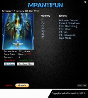 StarCraft 2: Legacy of the Void Trainer for PC game version v4.8.0.71061 64Bit