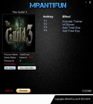 The Guild 3 Trainer for PC game version v0.7.0.0