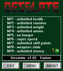 Desolate Trainer for PC game version v1.02