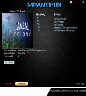 Aven Colony Trainer for PC game version v1.0.25665